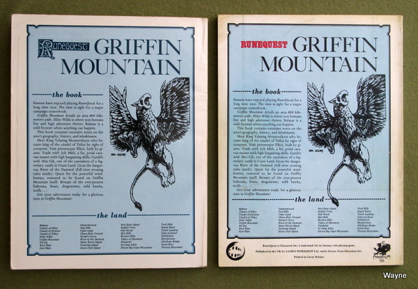 Griffin Mountain US & UK editions back