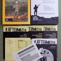 Aftermath RPG - rare Phoenix Games box cover + later edition photos