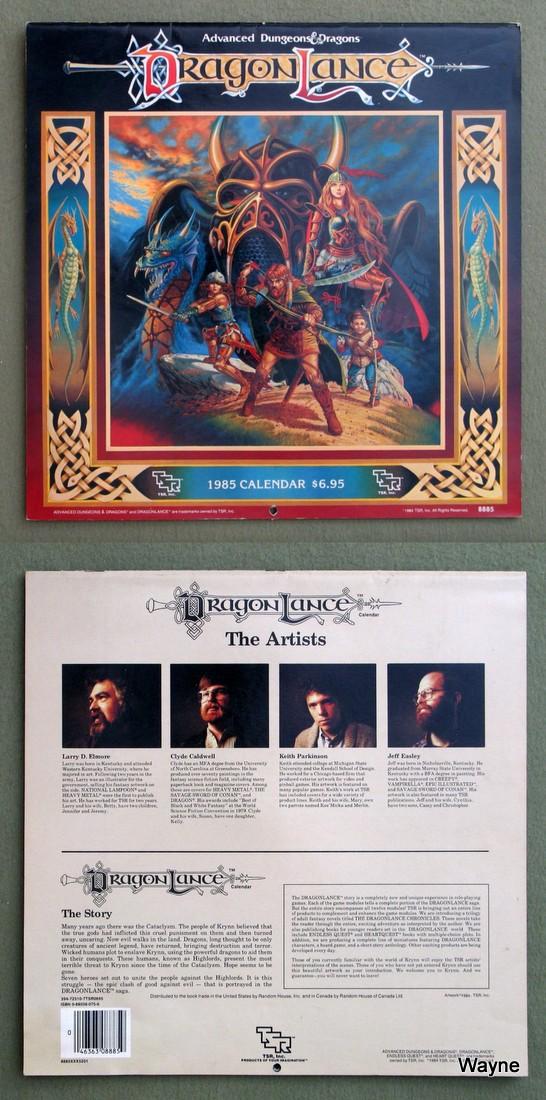 1985 dragonlance calendar coll