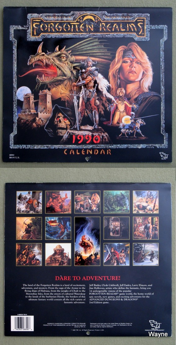 1990 advanced dungeons & dragons calendar - forgotten realms coll