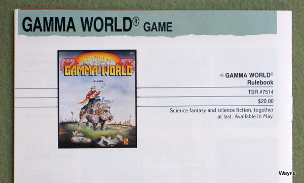 Gamma World 4th mock cover 1992 Catalog