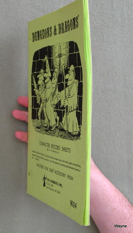 D&D Character Sheet 1979 green side glued edgepaper