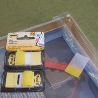 Post-It Flags as Book Bag Closures