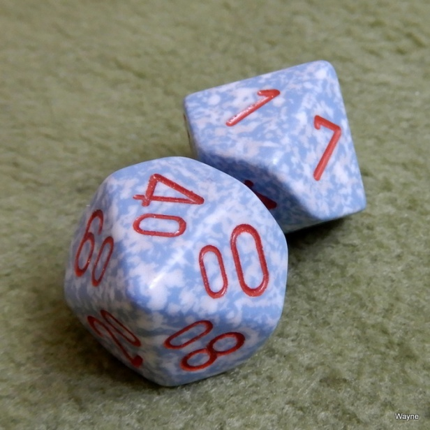 Gray White Speckled - Red Numbered Percentile Dice Set