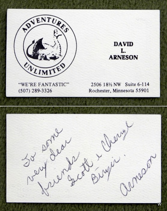 Dave Arneson autograph - Adventures Unlimited business card coll