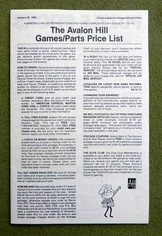 Avalon Hill Parts List