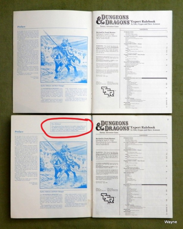 BECMI D&D Expert Rulebook printings comp