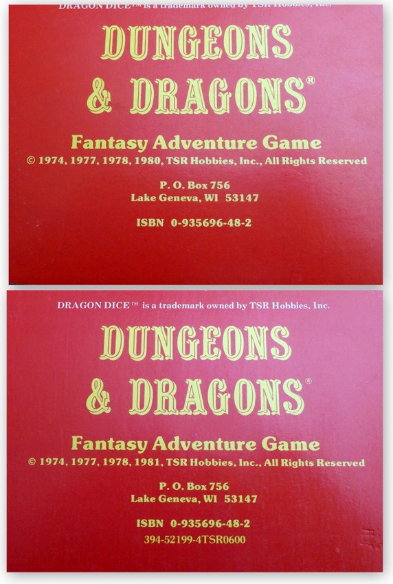 D&D Basic rulebook printings back dates coll