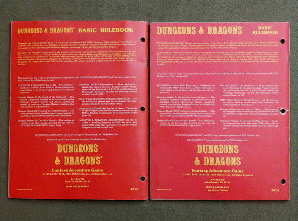 D&D Basic rulebook printings backs