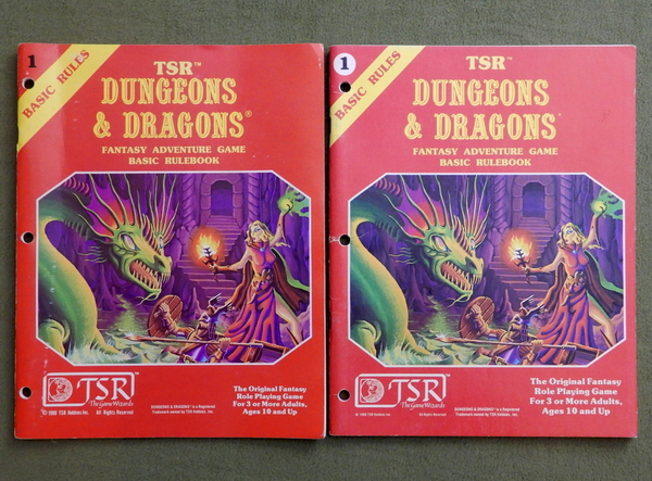 D&D Basic rulebook printings fronts-001