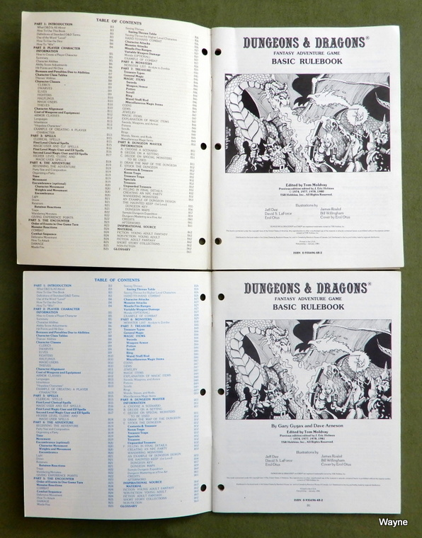 D&D Basic rulebook printings inside covers
