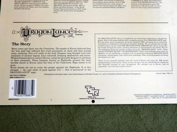 1985 Dragonlance calendar back 2