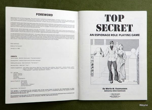 Top Secret rulebook 1st 1st inside cover