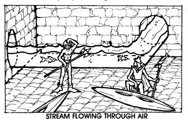 Stream flowing through air